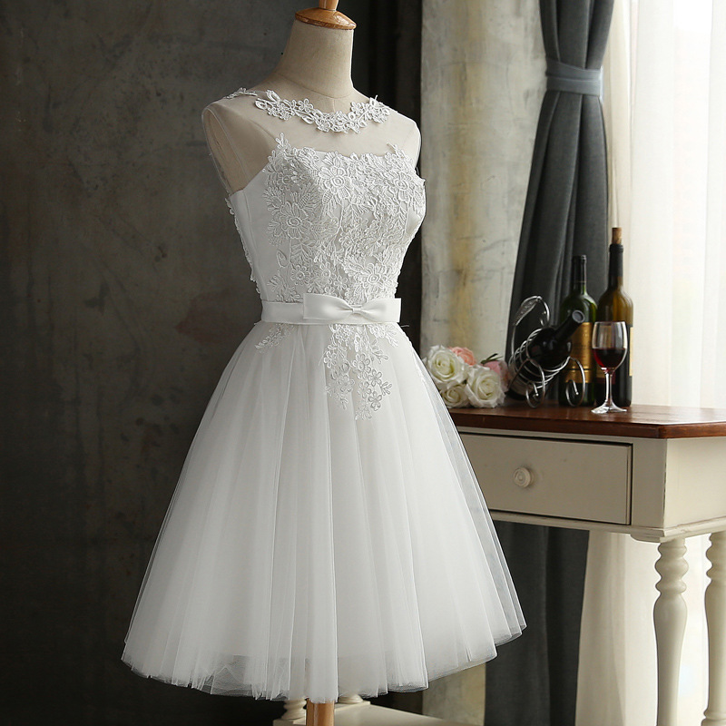 Pretty Short White Bridesmaid Dresses Lace Up Cheap