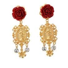 Rose Red Flower Drop Earrings Rhinestone Dangle Women Queen Statement Resin Jewelry