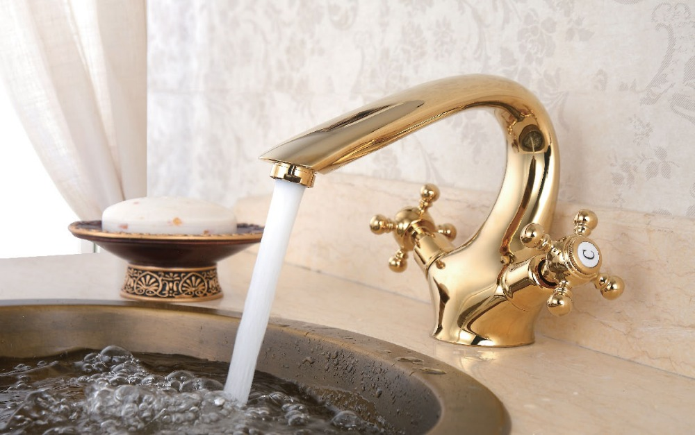 EMS(DHL) Free shipping gold Finish double handles Solid Brass Bathroom Sink Faucet lem htr200 sb sp1 used in good condition with free dhl ems
