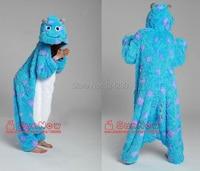Kadın Erkek Sullivan Cosplay Longhaired Flanel Polar Mavi Canavar Kostümler Pijama Pijama Hayvan Onesies Parti cosplay Yetişkinler