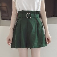 Women Summer Shorts Skirts All Match High Waist Falbala Pants With Sashes School Girls Office Ladies