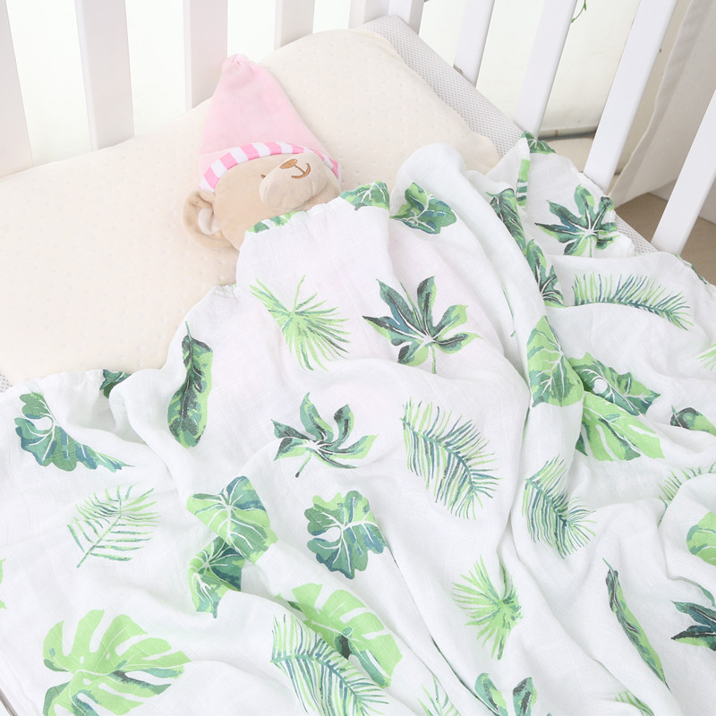 leaf 70% bamboo+ 30% cotton baby Swaddle baby blanket Wraps Cotton Baby muslin Blankets Newborn 100% bamboo muslin quilt exclusive fruit strawberry knit wool blankets baby blanket wraps newborn baby blankets cotton travel sleeping blanket 90x110cm