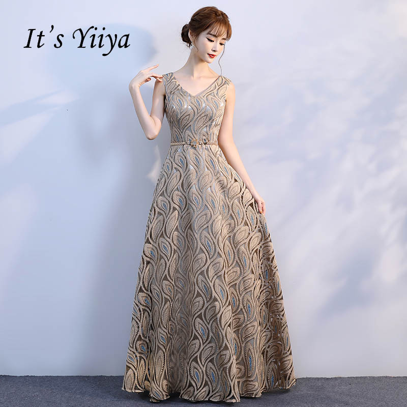 5bbb830863 It s Yiiya V-neck Pattern Gold Floral Lace Up Elegant Evening Dresses Floor  Length Party Gown Evening Gowns Formal Dresses LX195