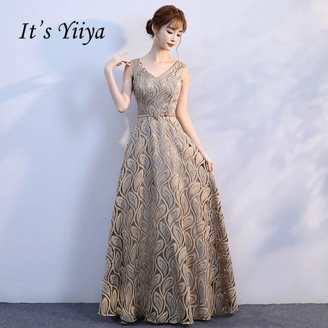 13b2895229e2 It s Yiiya V-neck Pattern Gold Floral Lace Up Elegant Evening Dresses Floor  Length Party Gown Evening Gowns Formal Dresses LX195