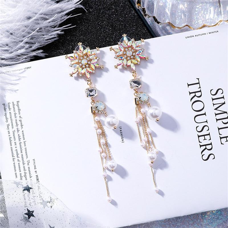 New Luxury Colorful Rhinestone Snowflake Flower Long Pearl Tassel Drop Earrings Exaggerated Baroque Style Women Jewelry EC1422