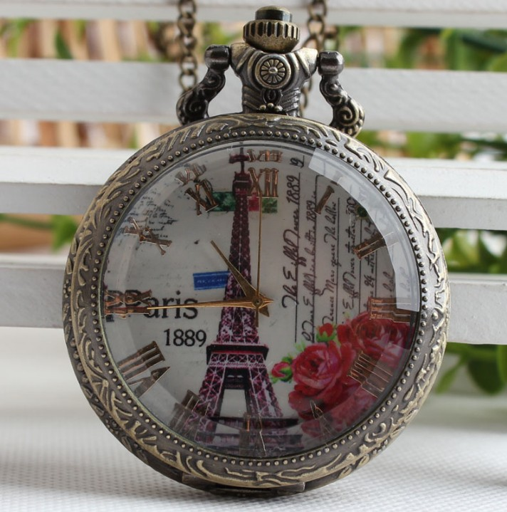 Antique Eiffel Tower Pocket Watch 1989 Cover Pendant Necklace Novel Men Women Clock Best Gifts For Lovers Relogio