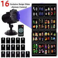 Slong Light LED Projector Lights 16 Replaceable Slides Night Lamp Halloween Projector Rotating LED Landscape Lamp+IR Controller