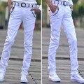 Primavera Nueva Moda Casual Para Hombre Pantalones Rectos de la Pierna Mezcla de algodón Pantalones Flacos de Los Pantalones 9 Colores Negro Rojo Libre gratis