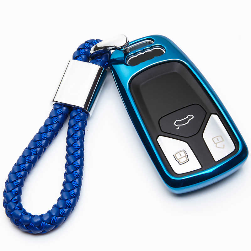 Soft TPU Car Key Fob Cover For Audi A2 Q7 Q3 A3 8P 8L A4 B9 B7 B8 A6 C6 4F C5 A4l TT TTS Remote Key Ring Case Shell Accessories
