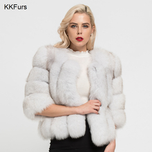 JKKFURS 2019 Real Fox Fur Coat Winter Warm Cropped Jacket For Women Top Quality Natural Short Outerwear Wholesale S7150
