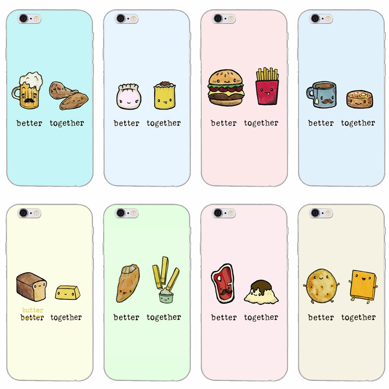 cute dessert food better together slim silicone soft phone case for
