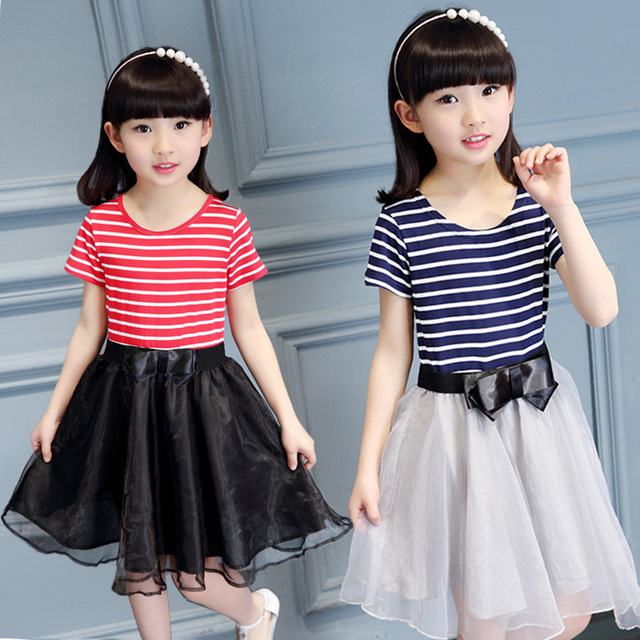 0955d1347edd Retail 2018 New Summer Style Girl Casual Striped Bow Princess Dress ...