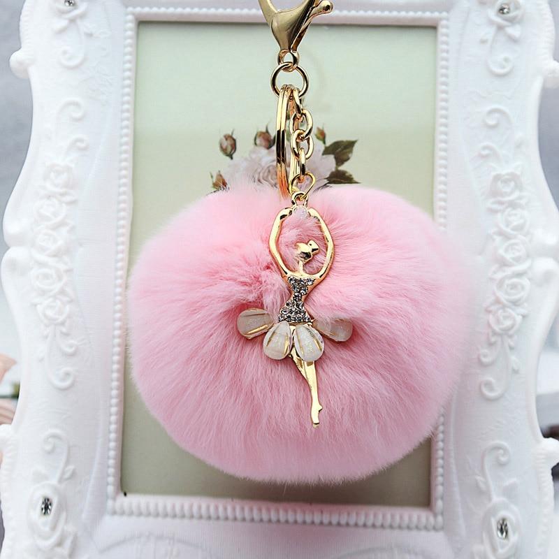 все цены на Rhinestone ballet dancer Fur Ball Key Chain For Women Fur Pompom Keychain Trinket Charm Bag Key Ring Holder Jewelry