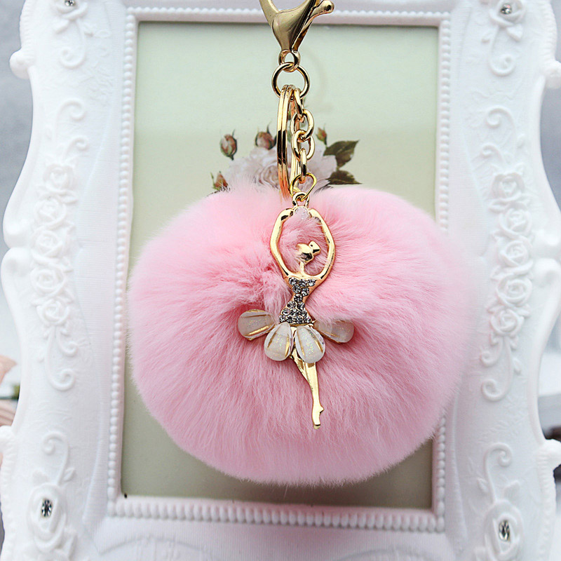 Rhinestone ballet dancer Fur Ball <font><b>Key</b></font> Chain For Women Fur <font><b>Pompom</b></font> Keychain Trinket Charm Bag <font><b>Key</b></font> <font><b>Ring</b></font> Holder Jewelry image