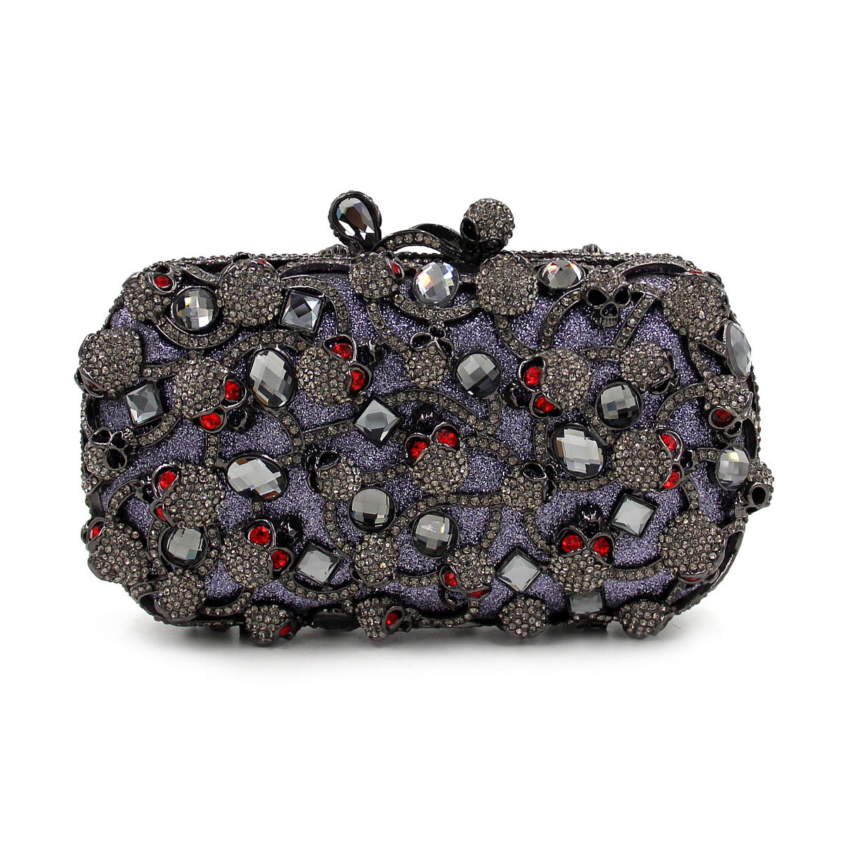 2017 New Day Clutches Luxury Diamond Red Skull Halloween Dinner Bag Full Drill Hollow Chains Ladies Evening Bags Handbags Purses