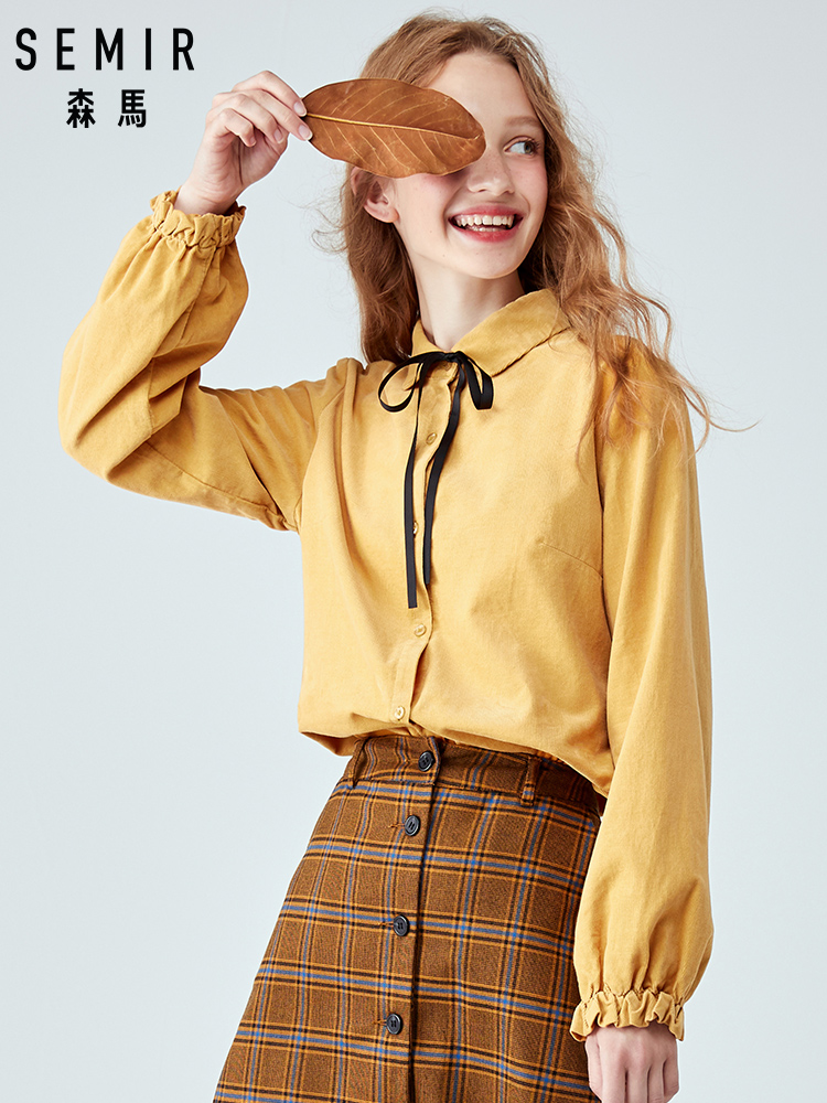 SEMIR Long Sleeve Shirt Female 2019 Young Spring New Chic Early Autumn Clothing Comfortable Bow Corduroy Blouse Cotton Shirt