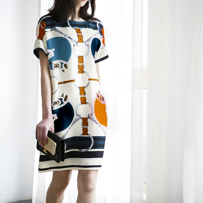Office Lady Dress 2017 Summer Dresses European Fashion Womens Maxi Size Vintage Printing Short Casual Loose Dress NS781