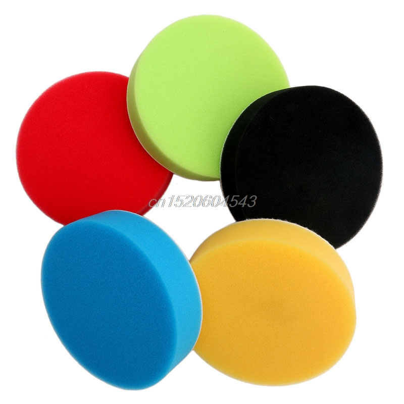 5pcs/set 3 inch Flat Sponge Buffing Pad Polishing Pad Kit Car Polisher R06 Drop Ship spta 5pcs polishing buffing pad 4 100mm mix color kit for 3 inch backing ro da air polisher random orbit dual action polisher