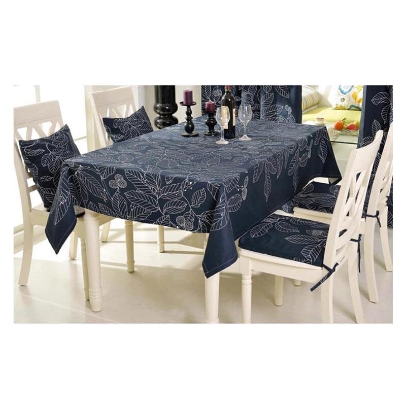 Скатерть toalhas-де-меса bordada хлопок айкен покровно де Таблица manteles Para Меса в состоянии ткани темно-синие листья принт