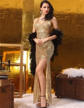 y Champagne Golden Sequin Fabric Side Slit Mermaid Evening DressCustom Made Sexy V-Neck Noble Party Gowns Vestido de Festa Longo
