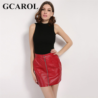 GCAROL 2018 New Arrival Faux Leather Women Skirt 3 Colors Polyester Lining PU Skirt 2 Pockets Sexy Popular Skirt For 4 Season