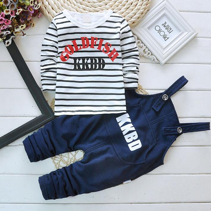New boys & Girls children clothing set spring kids clothes stripe cotton long-sleeved overalls outfits boys casual Tracksuit set