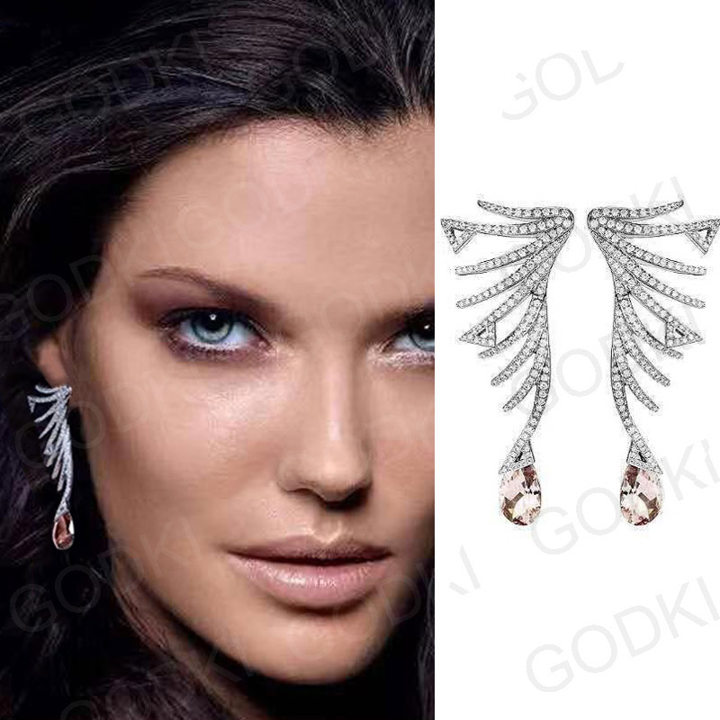 GODKI Famous Brand Luxury Feather African Dangle Earrings For Women Wedding Cubic Zircon Crystal CZ Dubai Indian Bridal Earrings-in Drop Earrings from Jewelry & Accessories