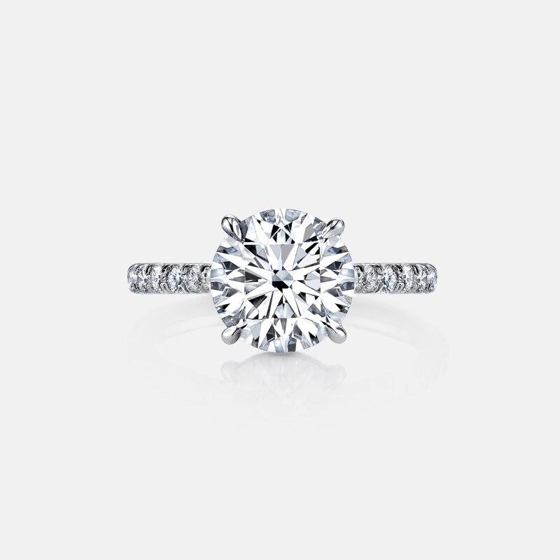 925 bague en argent Sterling 3 carats taille ronde SONA classique bague de fiançailles pour les femmes bague de promesse de mariage bijoux