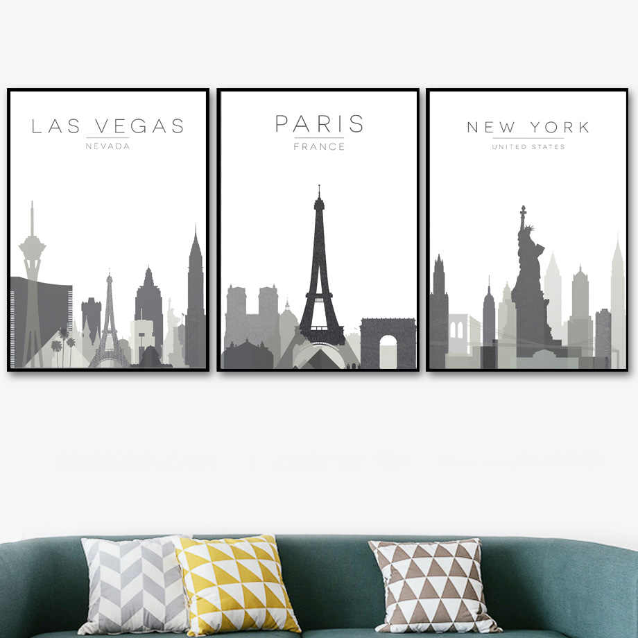 Canvas Wall Art Painting Printed Pictures City Map Paris London New York Las Vegas Home Decor Nordic Poster Modular Living Room