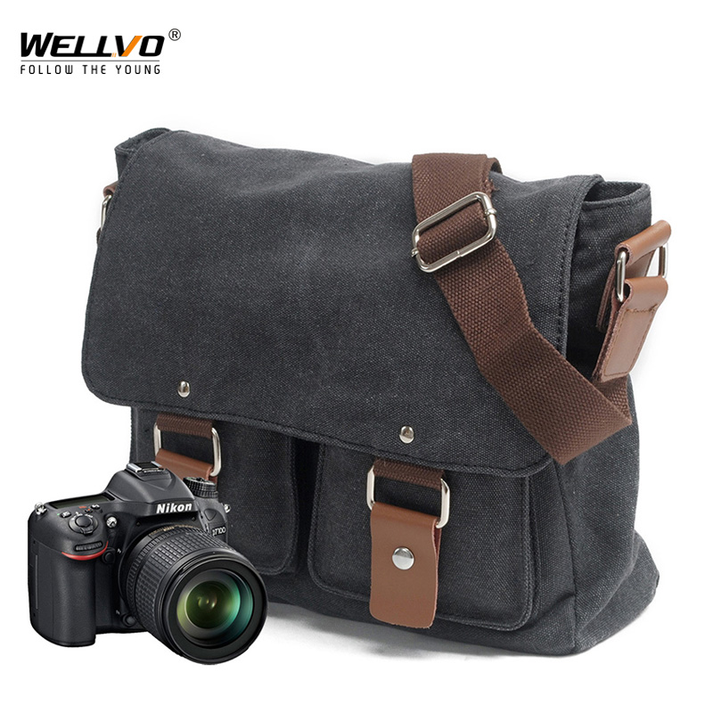 Professional DSLR Canvas Camera Bag Photography Travel Photo Bag Classic Single Shoulder Bags Vintage Men Messenger Bag XA255ZC
