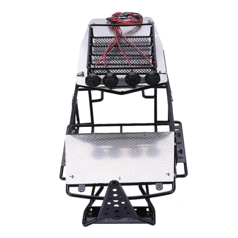 Metal Modified Frame Body Roll Cage with Roof Rack Metal Sheet platefor RC Axial Wraith RC