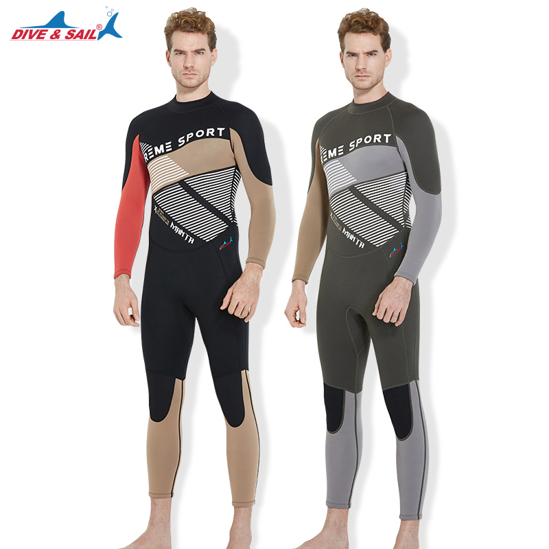 DIVE&SAIL Diving Suit 3MM Neoprene Scuba Diving New Arrival Men One-piece Long Sleeved Snorkeling Water Sports Surfing Wetsuit