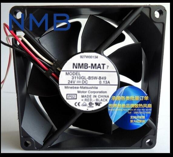 NMB 3110GL-B5W-B49, P02 DC 24V 0.13A, 80x80x25mm 3-wire 80mm Server Square cooling fan free shipping for nmb bg1203 b058 p00 l2 dc 24v 1 30a 3 wire 3 pin connector 50mm 120x120x32mm server blower cooling fan