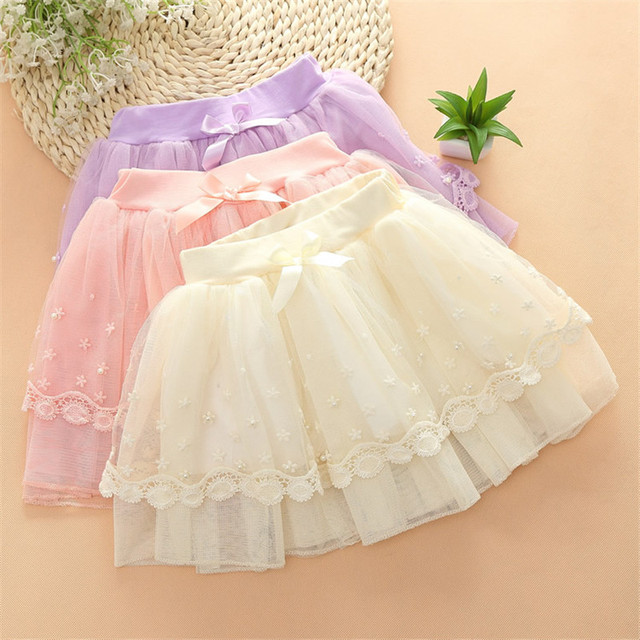 1pc Mesh Lace Skirts For Girls 3 Color Select Summer Princess Style Ball Gown Evening Party Wedding Skirt With Beading 2016 New