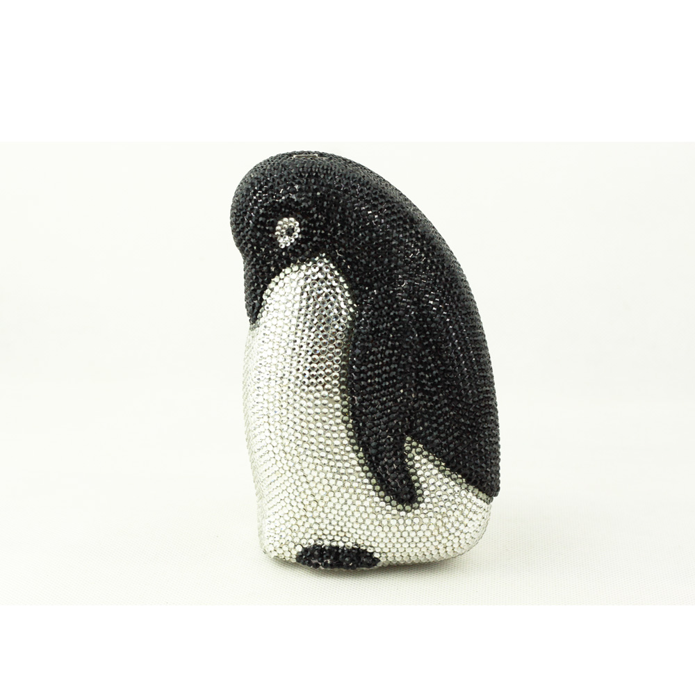 Animal Pingüino en forma de Marca de Diseño Rhinestone de Embrague Noche Bolsa d
