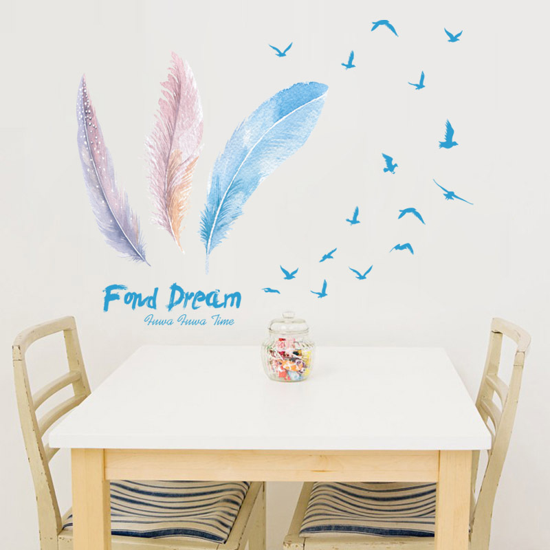 Superieur Fashionable Three Large Feathers Birds Wall Stickers Women Salon Bedroom  Home Decor Vinyl DIY Poster Furniture Door Decorations In Wall Stickers  From Home ...