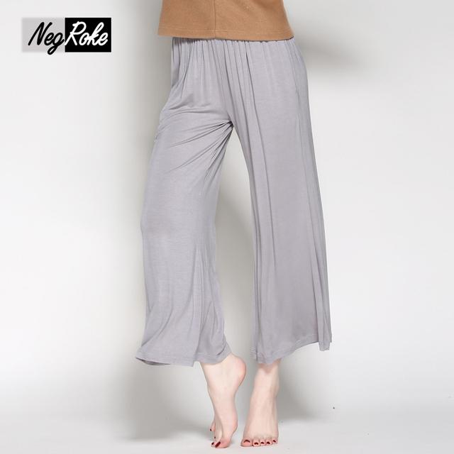 2017 nueva primavera marca calidad Modal loose women sleep bottoms color sólido pantalones del sueño para las mujeres más tamaño pijama pantalones mujeres