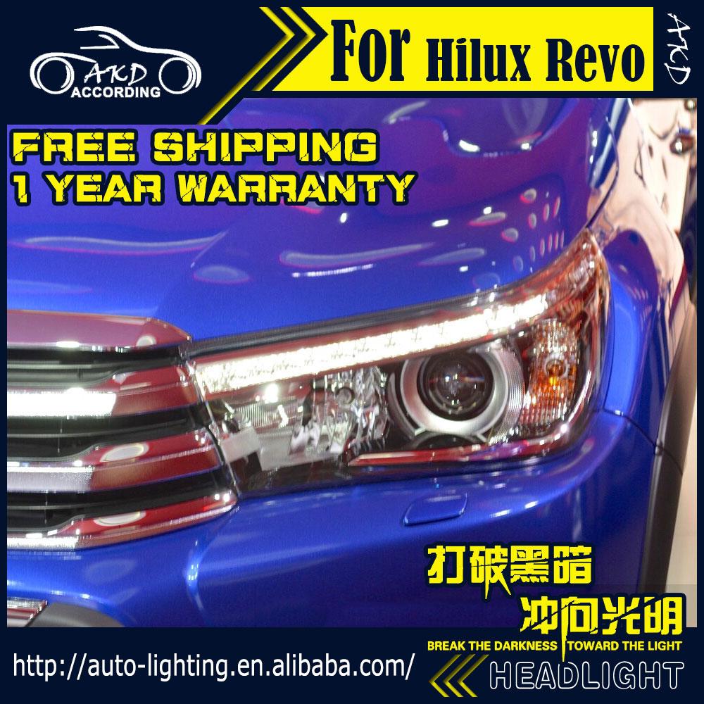 AKD Car Styling Head Lamp for Toyota Hilux Headlights Vigo LED Headlight Revo LED DRL H7 D2H Hid Option Angel Eye Bi Xenon Beam car styling head lamp case for toyota camry headlights led headlight drl h7 d2h hid option angel eye bi xenon