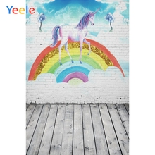 Yeele Rainbow Unicorn Birthday Party Brick Wall Photographic Backgrounds Baby White Photography Backdrops For The Photo Studio