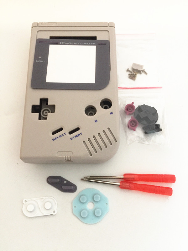 Full Set classic Housing Shell <font><b>Case</b></font> Cover Repairt Parts For Gameboy <font><b>GB</b></font> Game Console for GBO DMG GBP With Buttons Screw Drivers image