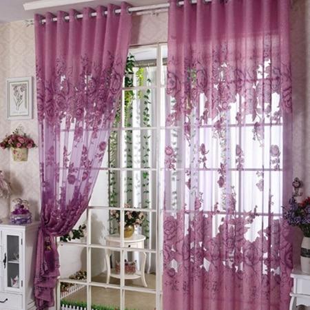 Online Shop Moderne Blumen Tll Vorhnge Fr Wohnzimmer Drapieren Schabracken Fenster Lila Gelb