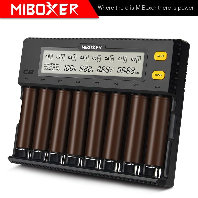 Miboxer c8 cargador inteligente 8 ranuras Total 4A Salida de cargador inteligente para IMR18650 16340 10440 AA AAA 14500 y 26650 dispositivo USB