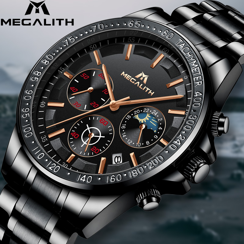 MEGALITH Drop Shipping Mens Watches Top Brand Luxury Full Steel Quartz Clock Male Army Military Watches Men Relogio Masculino