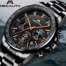 MEGALITH, envío directo, relojes para hombre, marca superior, reloj de cuarzo de acero completo de lujo, relojes militares del Ejército para hombres, reloj Masculino