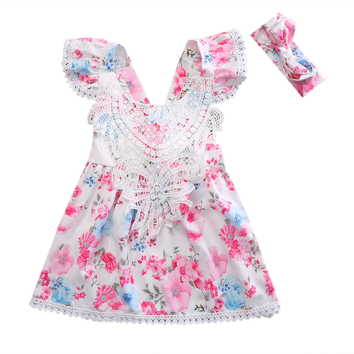 bba4109865f8 New Arrival Newborn Toddler Kids Baby Girl Flower Floral Dress ...