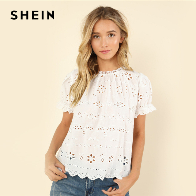 c75e15021dff75 SHEIN White Casual Puff Short Sleeve Eyelet Embroidered Stand Collar  Contrast Lace Cut Out Solid Blouse