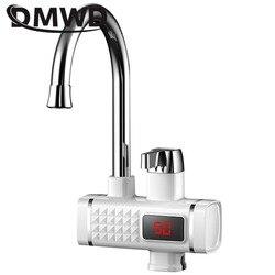 Dmwd torneira elétrica, 3000w, aquecedor de água, elétrico, sem tanque, com display de temperatura, para banheiro, cozinha, 220v eu