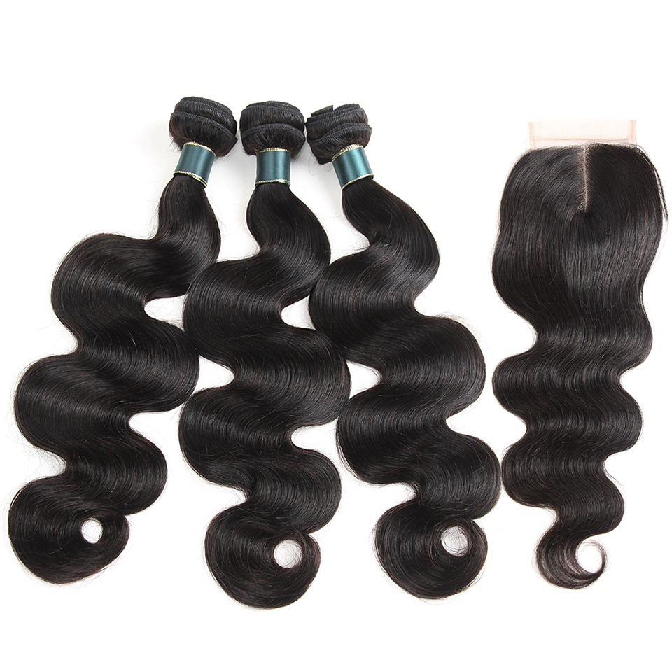 SATAI Hair Peruvian Body Wave Human Hair 3 Bundles With Closure Peruvian Hair Bundles With Closure Non Remy Hair Extentions
