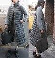 Европа женщины зимняя куртка мех сращивания рукав хлопка-ватник долго вниз пальто Роскошные женские зимние куртки и пальто TT092