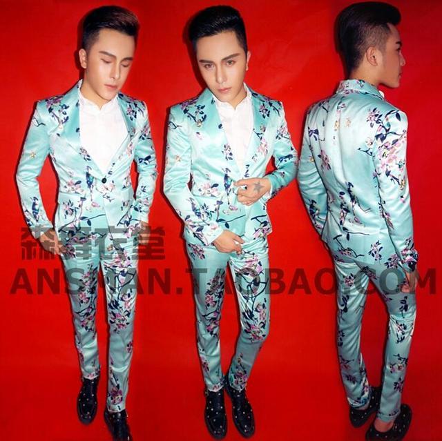 Macho DJ cantor BIGBANG GD Europa marca de moda Blazers Homens flores azuis e pássaros ternos Boate jaqueta Casacos de homem grande tamanho